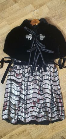 Нарядное платье с меховой накидкой для девочки