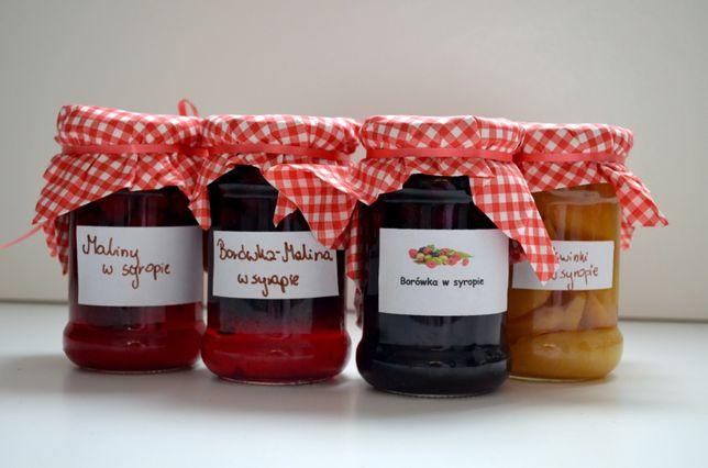 borówka w syropie brzoskwinie maliny w syropie 315ml owoce w syropie