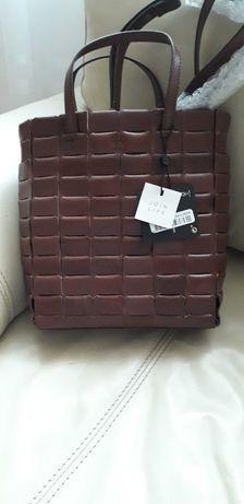 Massimo dutti torebka z naturalnej skóry brązowa rezerwacja