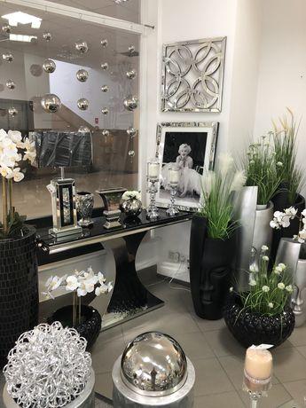 Konsola ze stali chromowanej Glamour szkło czarne