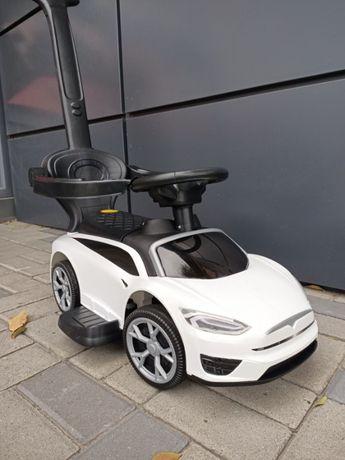 Машинка толокар 2 в 1, 719-2 Tesla, музыка, багажник, съёмная ручка