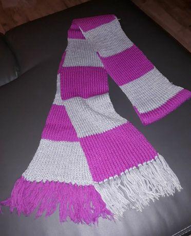 Długi szal szalik różowy/szary