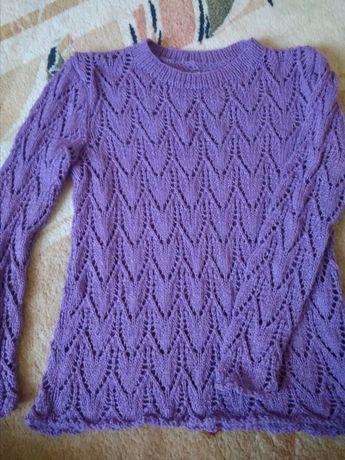 Вязаный ажурный женский свитер 44-46р