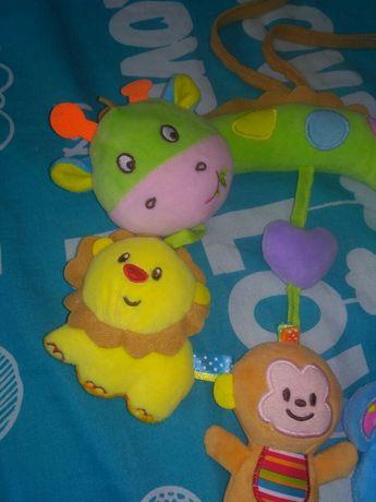 Игрушка в коляску  растяжка жираф лев обезьяна слон мягкая