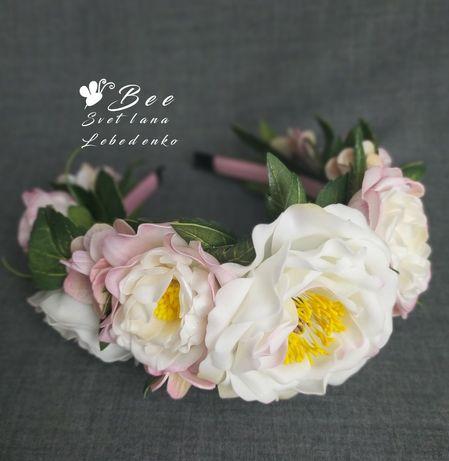 Обруч для волос с цветами пиона и гортензии
