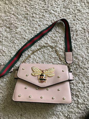 Жіноча сумка, женская маленькая сумочка розовая кроссбоди