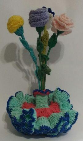 Szydełkowe kwiaty, bukiet, duży 41cm