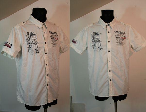CAMP DAVID/ Biała koszula męska / krótki rękaw /Rozmiar: L