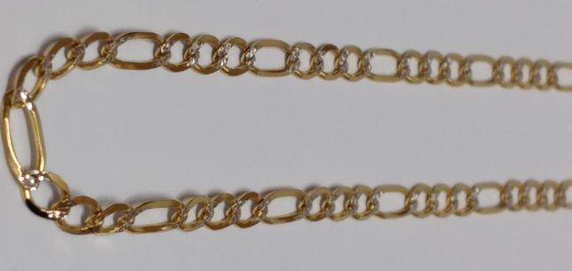 Nowy Powystawowy Łańcuszek Złoty Figaro Diamentowany Pełny 0,585