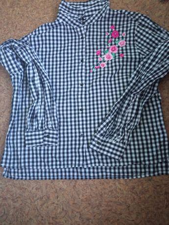 Koszula damska w krate z długim rękawem  z motywem kwiatów rozmiar M