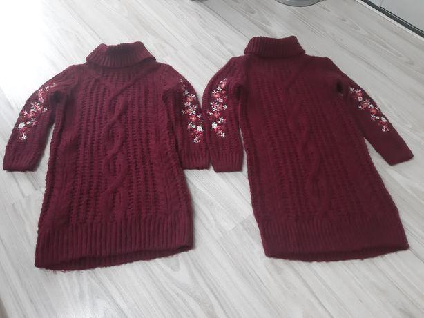 Sweter tunika golf haftowane rekawy roz 110/116