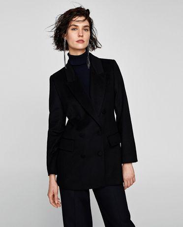 Zara nowy krótki płaszcz czarny kurtka guziki XL xxl oversize wełniany