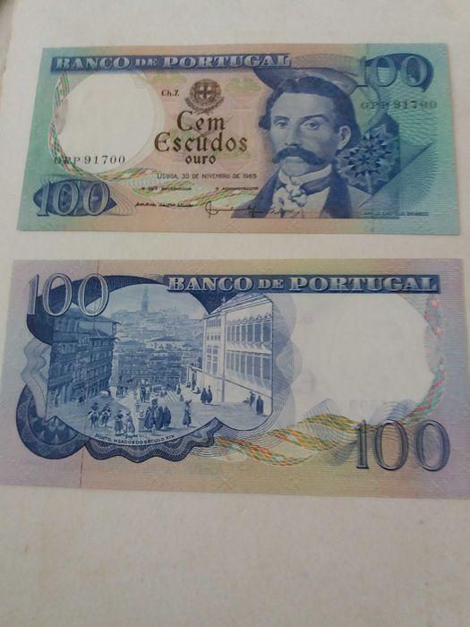 2 Notas de 100 escudos novas, Camilo Castelo Branco Estrela - imagem 1