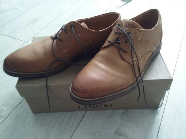 męskie eleganckie skórzane brązowe buty lasocki r.43