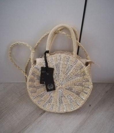 Nowa okrągła pleciona torebka z rafii