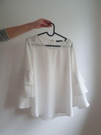 Biala bluzka z falbaniastymi rękawami rozm. S