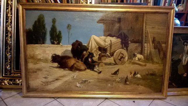 """Richard Beavis, """"Siesta"""" olej na płótnie, 1874, 75x125cm"""