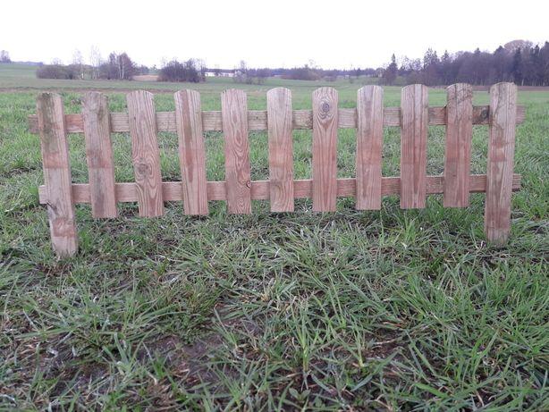 Płotek trawnikowy prosty,rollborder drewniany, obrzeże 120 cm