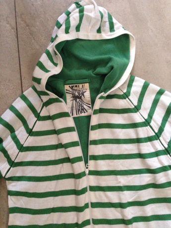 Sweter na polarze bluza biało zielone pasy kaptur M Topman