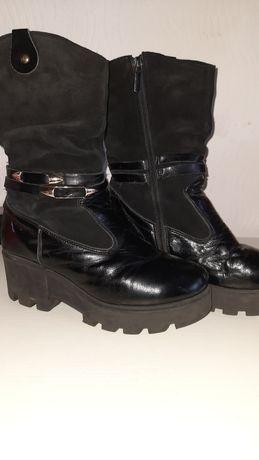 Зимние кожаные сапоги, 23см