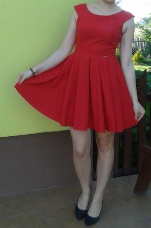 Sukienka czerwona rozkloszowana wesele HIT