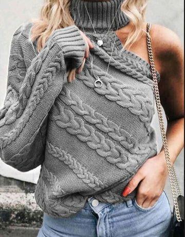 Stylowy sweter golf z jednym rekawem czarny popiel wyprzedaż %%