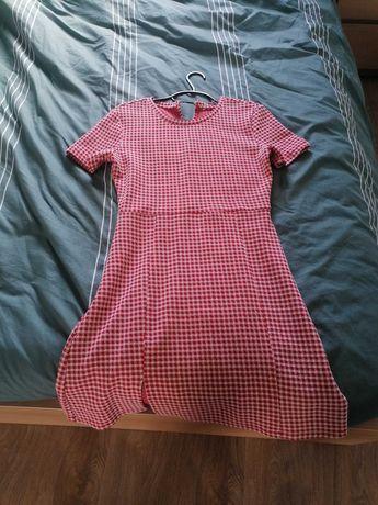 Vestido curto quadrados vermelhos e brancos, Zara Tamanho M/L elástico