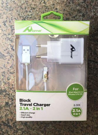 Kit carregador completo lightning para iPhone /iPad -Carregador 2 em 1