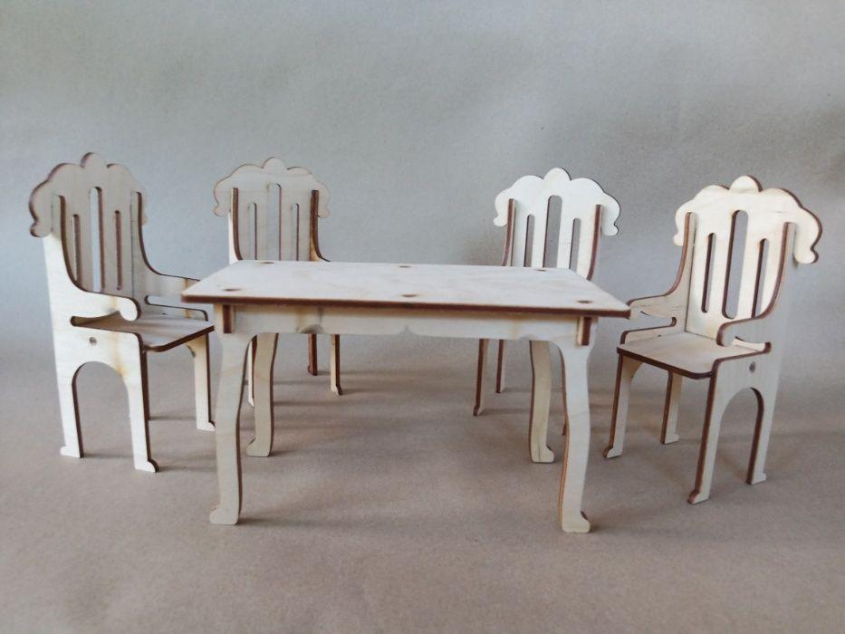 Обеденный стол с стульями для кукол барби. Кукольная мебель. Прилуки - изображение 1