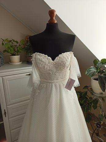 Nowa suknia ślubna Anastazja firma Adaline rozmiar 38 ivory ecru