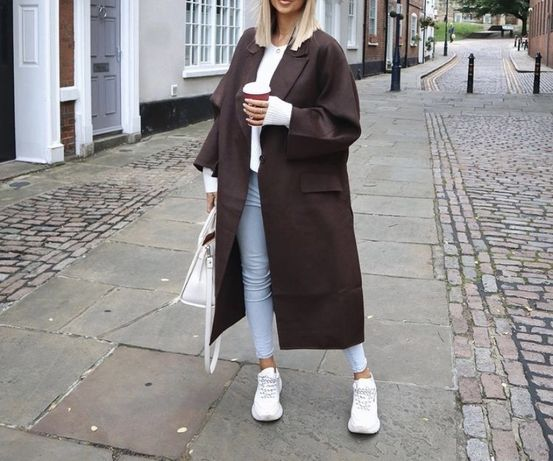 H&M hm plaszcz welniany  nowy xs brazowy oversize kurtka narzutka