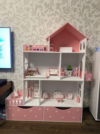 Комплект!! Шикарный Кукольный домик с мебелью