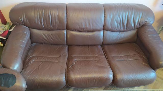 Komplet skórzaną sofa plus dwa fotele