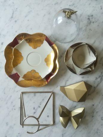 Dekoracje filiżanka talerze w kolorze złota