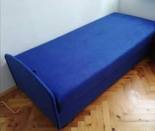 Tapczan  190cm niebieski welur dla seniora regulowany łóżko 190x80
