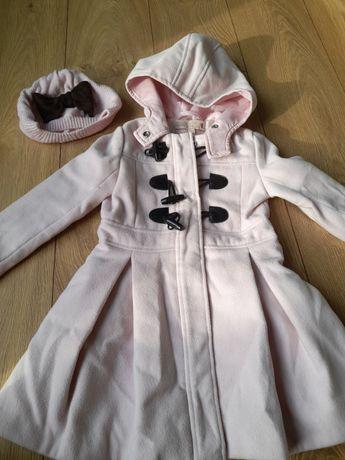 Piękny, elegancki płaszczyk z beretem, 3-4 latka