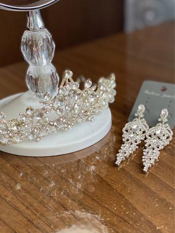 Свадебный/выпускной комплект украшений - серьги + корона (диадема)