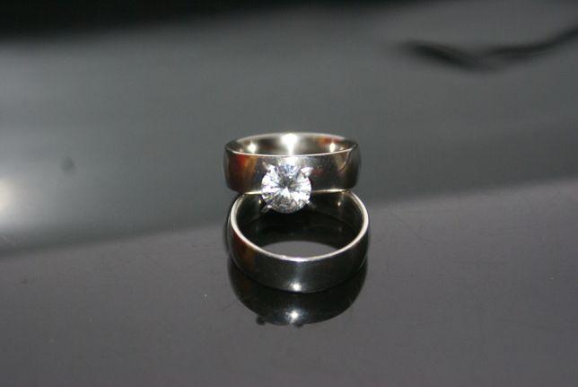 komplet pierścionek obrączka stal