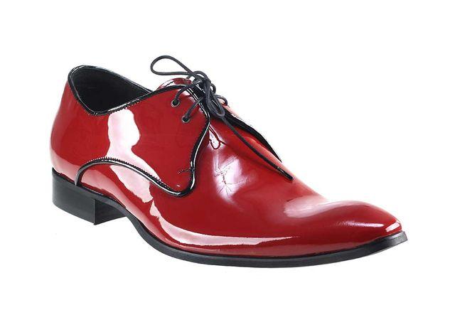 Obuwie męskie wizytowe czerwone lakierki skórzane półbuty shoes 42