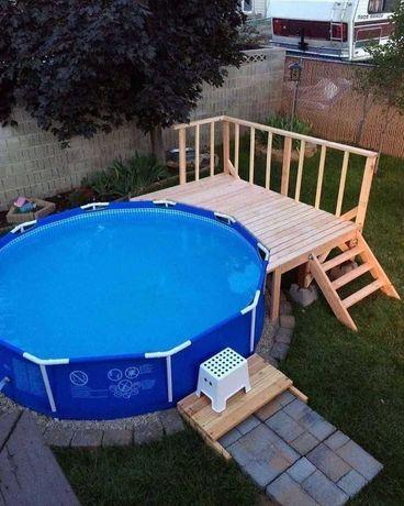 Каркасный круглый бассейн Intex с насосом в комплекте! объем 6503 л.