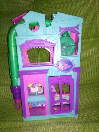 Domek, kawiarenka pet shop+figurka i gra