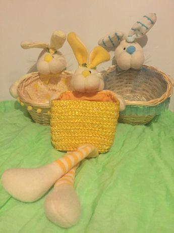 Koszyczki z zajączkami dekoracyjne lub dla dzieci NOWE