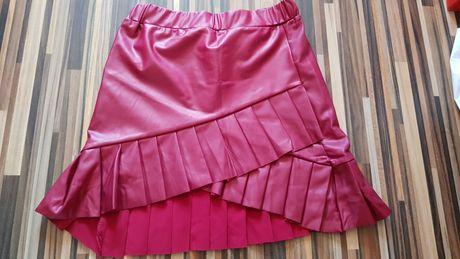 Nowa spódniczka 116 eco skóra falbanki bordowa