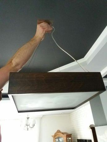 Lampa sufitowa plafon kwadrat klasyczna drewniana