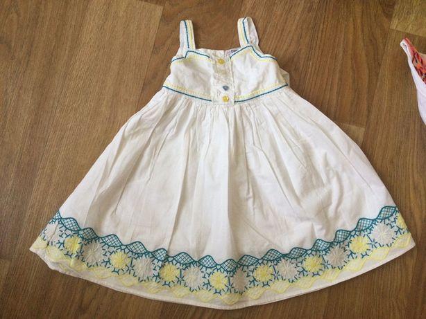 Платье белое с вышивкой, хлопок, 2-3 г