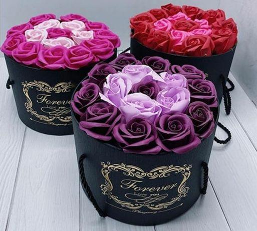Подарочный набор мыла из роз в шляпной коробке! Новинка!!!