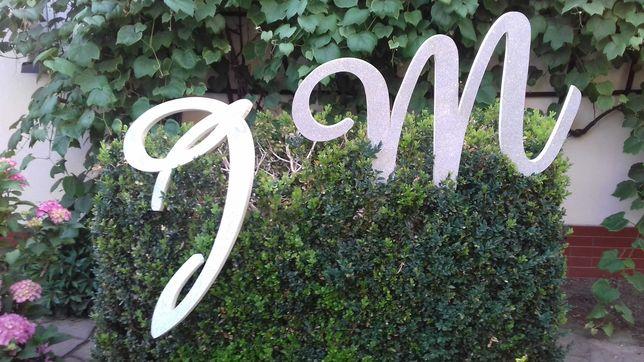 Inicjały, duże literki M & J srebrne, dekoracja na ściankę, wesele
