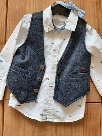 Koszula H&M, kamizelka i mucha JBC rozm.104/ 110, bluza i bluzeczka