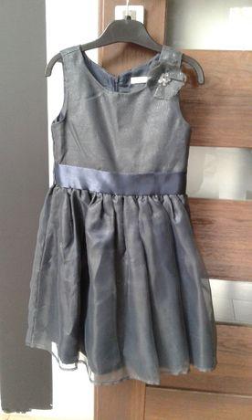 Sukienka czarna brokar podszewka 122