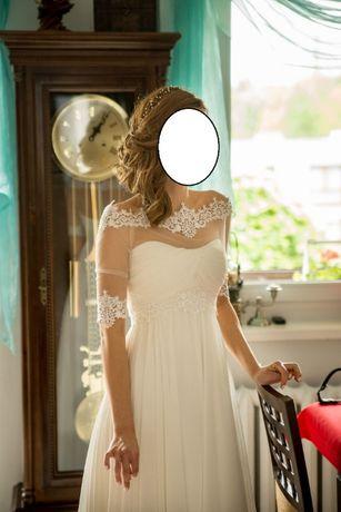 Piękna suknia ślubna firny Madonna z bolerkiem i pokrowcem rozmiar 34